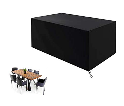 PLZY Funda para mesa exterior, funda de muebles de jardín, rectangular, para mesa de exterior, tela Oxford 210D, impermeable, antiviento