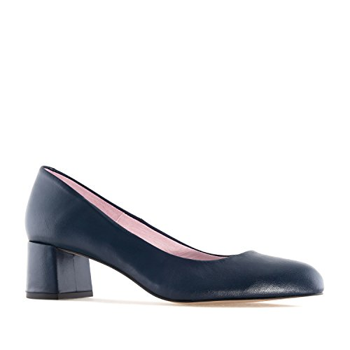 Andres Machado - Elegante Loafer für Damen/Mädchen - Martina – Bequeme Ballerinas aus Leder mit Absatz – Made in Spain - in Marineblau, EU 34