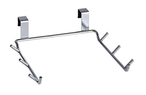 WENKO Soporte para bolsas de basura puertas armarios - para puertas de armarios, Metal cromado, 22 x 6 x 23 cm, Cromo brillante