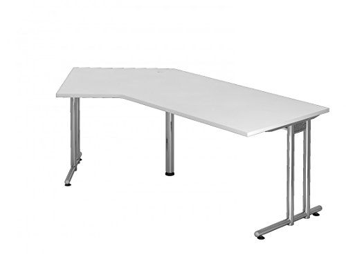DR-Büro Schreibtisch 210 x 113 cm nierenform - Höhe 72 cm, Gestell in Chrom - Bürotisch in 7 Farben, Farbe:Weiss