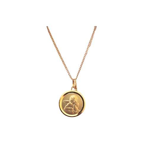 Chaîne et Pendentif Médaille Ange Baptême Or Jaune GF 750*