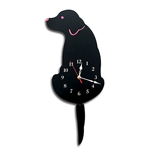Feixunfan Wanduhr Kreative Wanduhr DIY Hund Acryl Stille Wanduhr Schwanz Batterie Stromversorgung Wohnzimmer Schrankbett Digitale stille Wanduhr (Farbe : Schwarz, Größe : 42x18cm)
