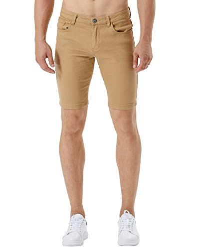 ZLZ Stretch Jean Short for Men, Men's Casual Slim Fit Denim Short (Khaki, 30)