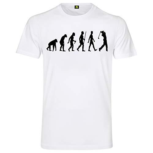 Evolution Golf T-Shirt | Golfspiel | Golfsport | Golfplatz | Ball | Rasen | Loch Weiß L