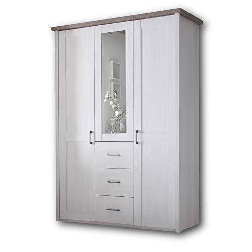 LUCA KOMFORT Eleganter Kleiderschrank im Landhausstil 3-türig - Vielseitiger Drehtürenschrank mit Spiegeltür in Pinie Weiß / Trüffel - 150 x 212 x 62 cm (B/H/T)