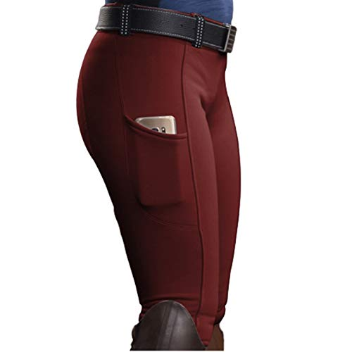 GGXX Hípica Pantalones para Las Mujeres, elástico pequeños pies Ecuestre Pantalones, Apretado Noble al Aire Libre Ocasional del Color sólido (S-5XL) Red Wine-M