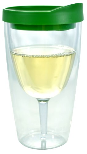 Southern Homewares 10 oz Wine 2Go! Insulated Vino Double Wall Acrylic Wine Tumbler with Drink Through Lid, Green