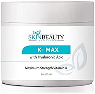 K MAX- Maximim Strength Vitamin K 5% Cream for Stretch Marks, Spider Veins, Acne Scars, Broken Capillaries, Rosacea, Puffy Dark Eye Circles, bruises- Works on Legs, Arms, Face, Nose (2oz)