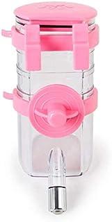 犬水飲み器 猫犬水飲み器 ウォーターボトル ゲージに掛けられる 350ml 犬 猫 給水器 水飲み 水やり安心してお留守番 プラスチック製 便利(ピンク)1144