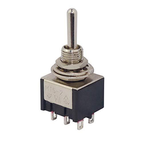 WITTKOWARE Schalter-Serie MTS - Miniatur Kipptaster mit 6mm Einbaudurchmesser, 3A, 250V, 2-polig, (EIN)-AUS-(EIN)