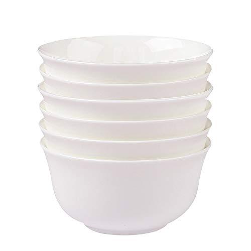 RKY Bol- Bol de riz blanc pur simple 6 Set bol de porcelaine en os bol cuisine chinoise bol de riz - 3 tailles /-/ (taille : 13.2 * 5.2cm)