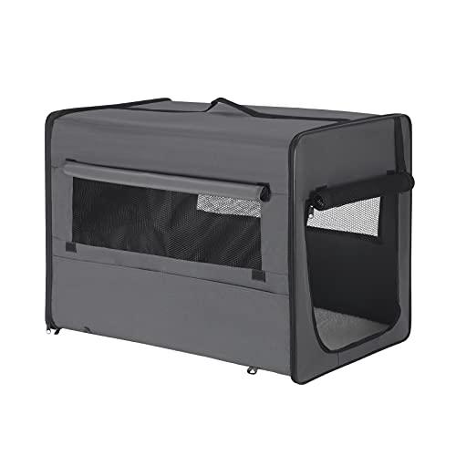 EUGAD Hundebox faltbar Hundetransportbox Auto Transportbox Reisebox Katzenbox Grau L 77x49x56cm 0339GL