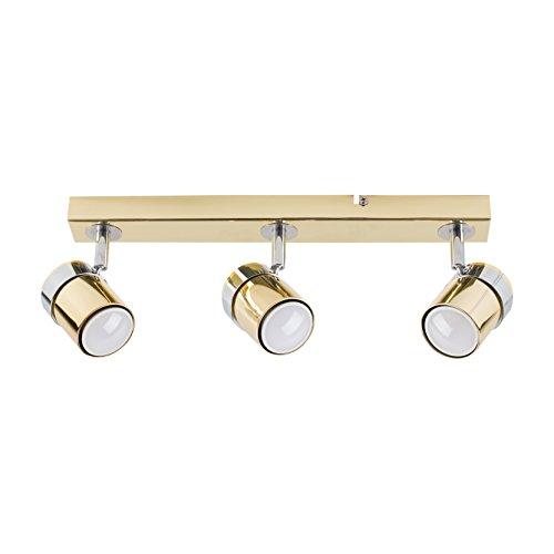 MiniSun - Plafoniera moderna e dritta 'Rosie', con 3 faretti regolabili - Sistema di illuminazione su binario - Finitura dorata