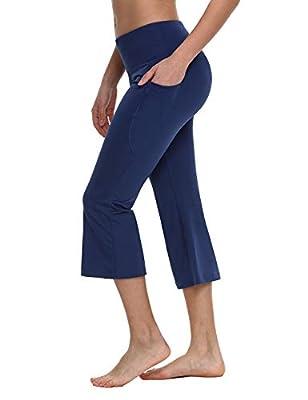 "BALEAF Women's 21"" Yoga Capri Pants Flare Workout Bootleg Leggings Bootcut Crop Side Pockets Navy L"