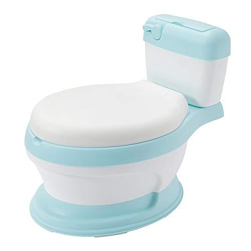 Zcm Vasino per Bambini Bambino Formazione Ciotola vasino Toilette Toilette Bambini Pot Pannello del Sedile for Bambini padelle Portatile orinatoio Schienale Comodo Cartone Animato (Color : BU)