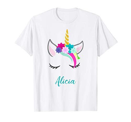 T-Shirt Personalizada Nombre Alicia Unicornio Camiseta