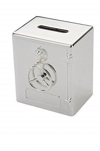 Brillibrum Design Safe Spardose versilbert anlaufgeschützt Banksafe mit Namen personalisiert Sparschwein Silber Tresor mit Wunschgravur