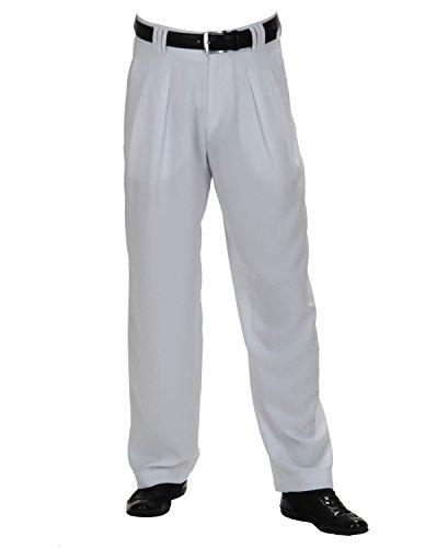 Herren Bundfaltenhose Weiß mit Extra Weit geschnittene Beine, Fifties Style Männer Hosen, Boogie Style Größe 58
