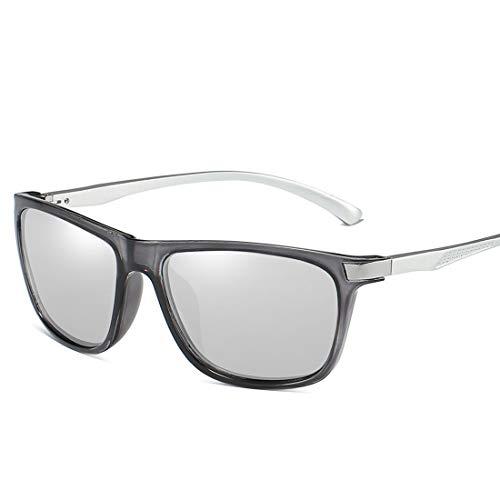 MIMIOOORE Gafas de Sol polarizadas UV400 Protección de conducción Ciclismo Pesca Correr Masculino Golf Estilo Retro Completa con Borde Duradero (Color : Gray)