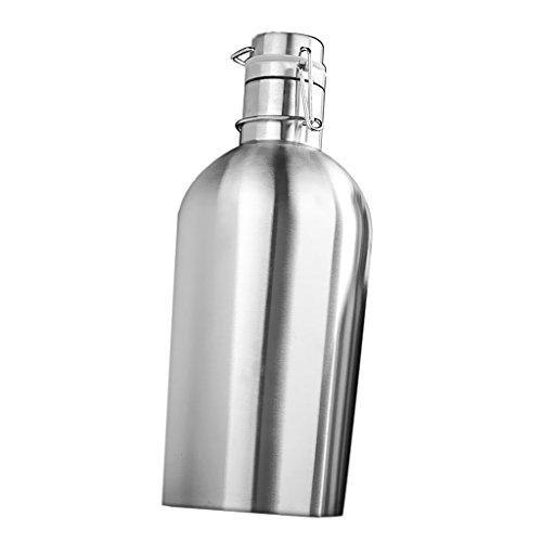 Non-brand Swing Top Flachmann Edelstahl Hausgebräu Bier Growler Flasche Silber - Silber, 2L