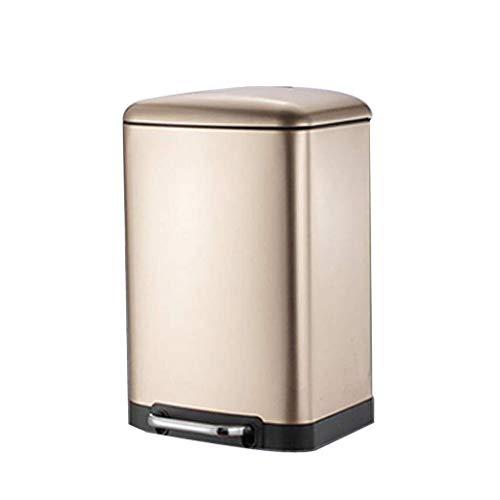 Pgs Trash Can, 30 liter grote capaciteit Pedal Garbage Can, plastic prullenbak for Slaapkamer Woonkamer Bureau Keuken prullenbak, Champagne, 30 L