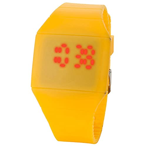 MARSPOWER Reloj Digital LED Reloj electrónico Estudiantes Reloj Deportivo de Ocio Indicador de 24 Horas Reloj de Pantalla Cuadrada LED - Amarillo