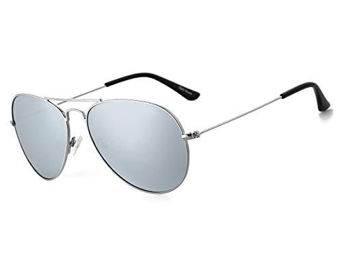 Rocf Rossini Gafas de Sol Aviador para Mujer Gafas Polarizadas Retro de Hombre con Protección UV400 para Pescar Conducir Playa(silver/silver)