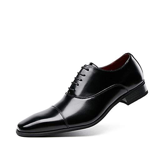 CAIFENG Zapatos de vestir Oxford para hombre con cordones y suela de goma de cuero auténtico, punta cuadrada, costura superior baja, hilo de costura doble (color: negro, talla: 43 EU)