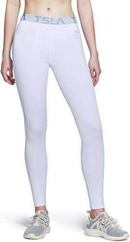 TSLA Women's Sports Workout Leggings, Cool Dry Exercise Running Pants, UPF 50+ Athletic Compression Tights, Active Wear, Athletic(fup19) - White, Medium