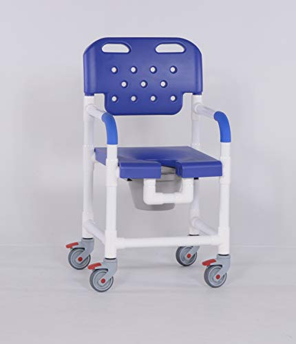 IPU PLT817 P Platinum Line Rolling Shower Chair Commode for use Over Toilet, in The Shower and Bedside (Blue)