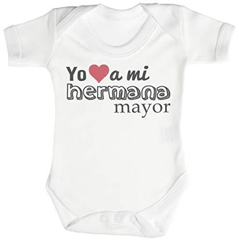 SR - Yo (Heart Shape) a mi Hermana Mayor Camisillas para bebé - Body para bebé niño - Body para bebé niña - 0-3 Meses Blanco