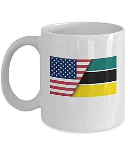 Kaffeetasse mit USA-Mosambike-Flagge, 313 ml, Weiß