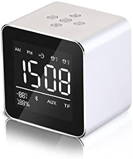 Double Alarm Clock Speaker Audio Wireless Bluetooth subwoofer Bluetooth 4.2 chip New Creative Bedside Speaker FM Radio with Speaker Phone and USB Port,Silver