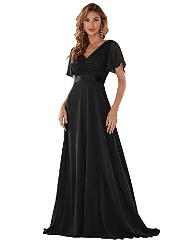 Ever-Pretty Vestito da Sera Donna Stile Impero Linea ad A Scollo a V Maniche Corte Lungo Nero 40