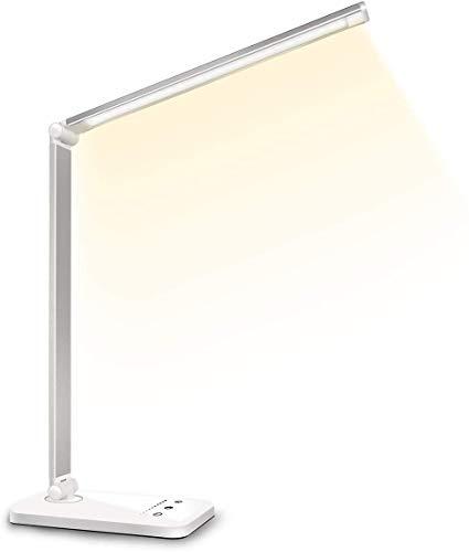 Schreibtischlampe LED Dimmbare Tischleuchte 5 Farb und 10 Helligkeitsstufen Augenfreundliche Nachttischlampe USB-Anschluss für Aufladung des Smartphones Leselicht ideal für Leser, Kinder,