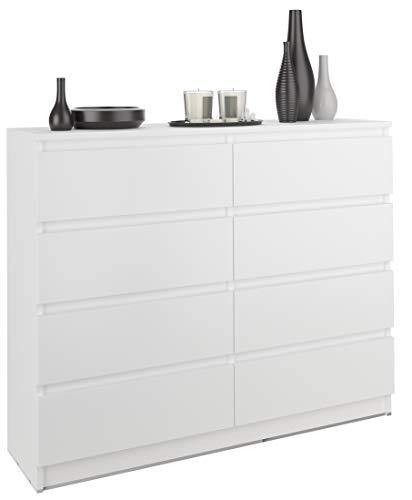 FRAMIRE R-120-S8 Kommode in Weiß, Kommode mit 8 Schubladen, Schrank für Schlafzimmer, Wohnzimmer, Bad, 120 x 98 x 40 cm