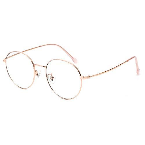 Cyxus 100% Titan Blaulichtfilter Brille, Weniger Nasendruck, 【Gesamtbreite: 142 mm】 Rund Vintage Retro Stil für PC TV Tablet Unisex,Roségold
