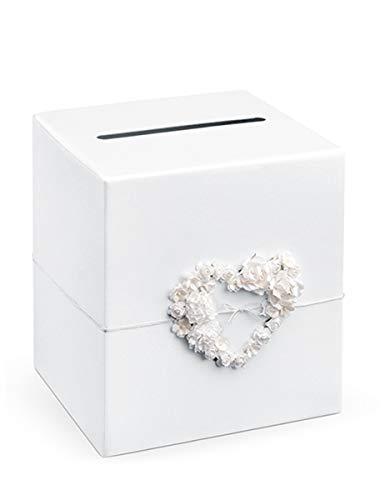 Party Deco - Caja de regalo para invitados de boda, con corazón de rosa, 24 x 24 x 24 cm, color blanco