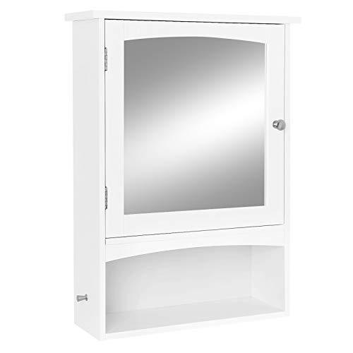 VASAGLE Mirror Cabinet, Bathroom Wall Storage Organizer with Adjustable Shelf, Medicine Cupboard, 18.9 x 6.3 x 25.6 Inches, White