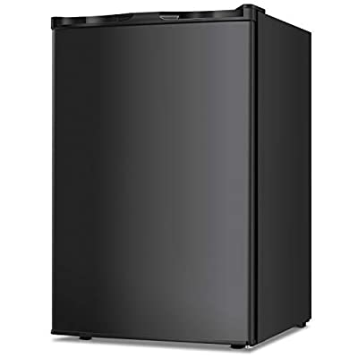 TAVATA Compact Upright Freezer Single Door Reversible Stainless Steel Door, Compact Adjustable Removable Shelves for Home Office (Black, 3.0 cu.ft)