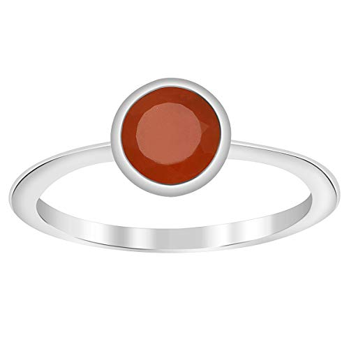 Shine Jewel Anillo apilable Solitario de Plata esterlina 925 con Piedra Natal de Coral Rojo de 6 mm (16)