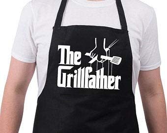Yilooom Funny BBQ Apron - The Grillfather - Funny Aprons For Men - Fathers Day Grilling Gift