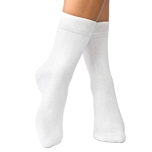 lampox - Bambussocken - 6 Paar - Atmungsaktiv - Reduziert Fußschweiß - Socken (47-50, Weiß)