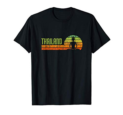 Thai Buddha Thailand Retro Sunset Gift T Shirt