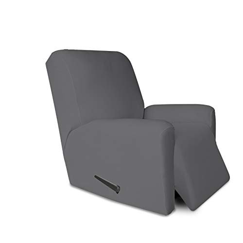 PureFit Super Stretch Chair Sofa Slipcover with Pocket – Spandex Non Slip Soft Couch Sofa Cover, Washable Furniture Protector with Elastic Bottom for Kids, Pets (Recliner, Gray )