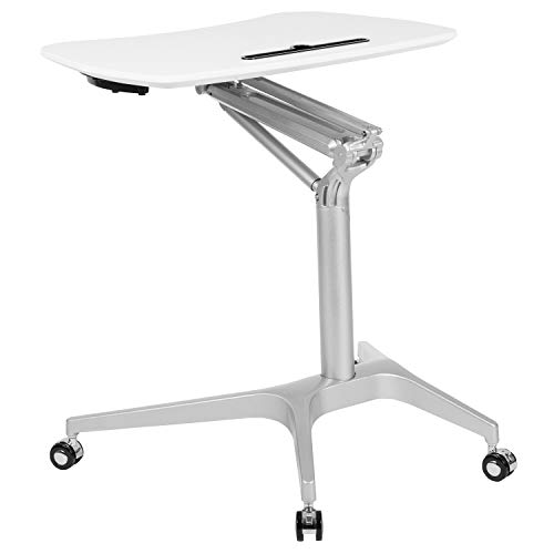 Flash Furniture Mobile Sit-Down, Stand-Up White Computer Ergonomic Desk with 28.25'W Top (Adjustable Range 29' - 41')