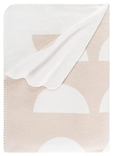 RIEMA Kuscheldecke aus Bio-Baumwolle | kuschelig weich Sofadecke im Skandi-Stil in beige-weiß | Oeko-TEX Zertifiziert | Made in Germany
