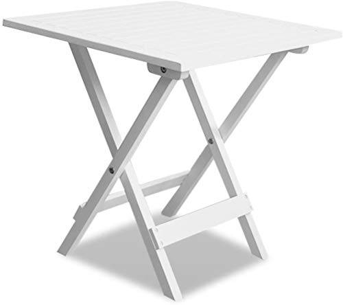 Mesa de café blanca madera maciza, mesa auxiliar pequeña plegable Mesita de...