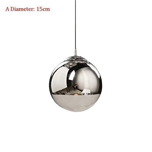 AI LI WEI Beautiful Lamps/Glaskugel-LED-Hängeleuchten Plating Kugelpendelleuchten Kreative Kronleuchter Theke Restaurant Study Lamp Beleuchtung (Color : A Diameter: 15cm)