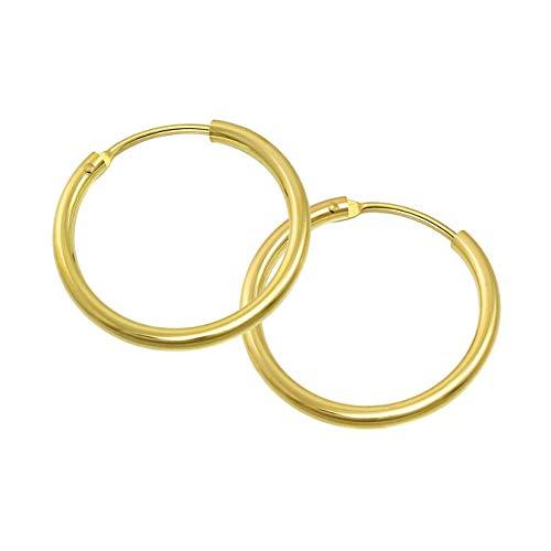 GoldDream 8 Karat Creolen 15mm 333 Gelbgold Ohrring Echt Gold Simply D2GDO0021Y ein schönes Geschenk zu Weihnachten, Geburtstag, Valentinstag für die Frau